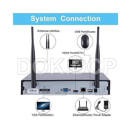 NVR KIT 4CH XMEYE 960P, Wireless Security Camera System + 4pc CCTV 960P